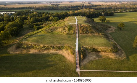 The largest earthen mound in North America, aerial view of Monk's Mound at Cahokia.