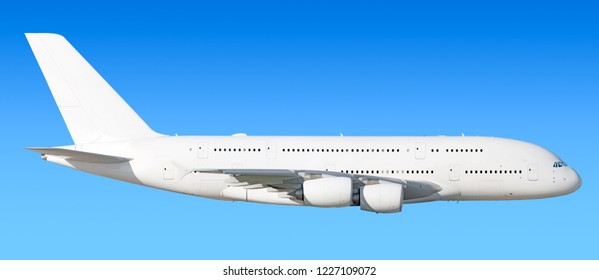 Largest heavy modern wide body passenger jet engine airplane flying side panoramic detailed gear up exterior view reference isolated on blue sky background air travel transportation white theme