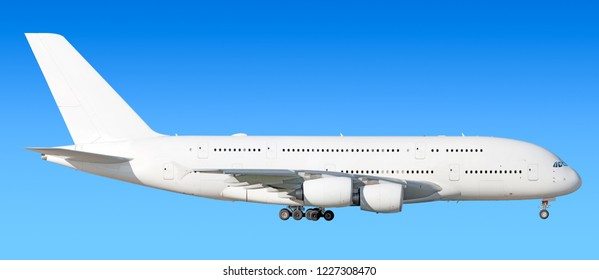Largest heavy modern wide body passenger jet engine airplane flying side panoramic detailed gear down exterior view reference isolated on blue sky background air travel transportation white theme