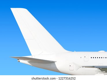 Largest heavy modern wide body passenger jet engine airplane flying side panoramic detailed tail fin exterior view reference isolated on blue sky background air travel transportation white theme