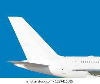 Largest heavy modern wide body passenger jet engine airplane flying side panoramic detailed tail fin exterior view reference isolated on blue background air travel transportation white theme