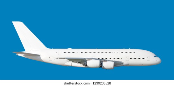 Largest heavy modern wide body passenger jet engine airplane flying side panoramic detailed gear up exterior view reference isolated on blue background air travel transportation white theme