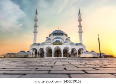 Largest Mosque in Sharjah beautiful traditional Islamic architecture new tourist attraction Arabic Letter means:Indeed, prayer has been decreed upon the believers a decree of specified times
