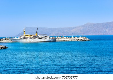 Largest passenger liner in the port. The Island Of Crete, Greece, 2017.