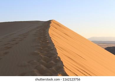 The largest sand dune in Europe (Russia, Dagestan Republic, Sarykoum barkhan)
