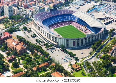 The largest stadium of Barcelona from helicopter.  Spain