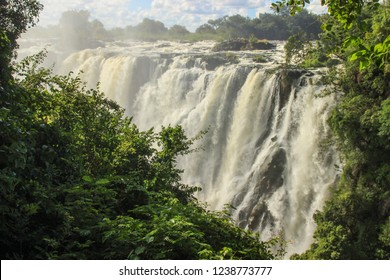 The largest waterfall in the world is Victoria. Africa: Zambia and Zimbabwe.