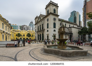 Largo da sé in Macau with Cathedral of the Nativity of Our Lady and Bishop's House on the left. Macau, January 2018