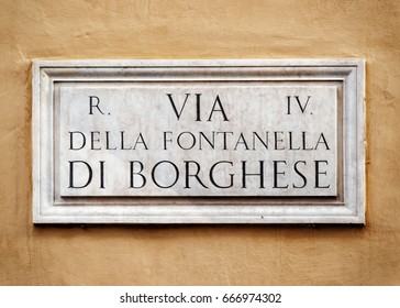 Largo della Fontanella di Borghese sign on the wall in Rome, Italy
