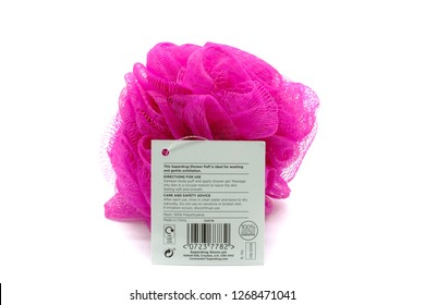 Largs, Scotland, UK - December 21, 2018: Superdrug Branded Body Puff Shower sponge and the product card only is recyclable as displayed on the rear of the product.