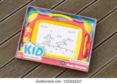 Largs, Scotland, UK - February 22, 2019: Kid Connection Magic Sketcher for Children Three & Over in Recyclable Packaging with safety and recycling information on the rear of product.