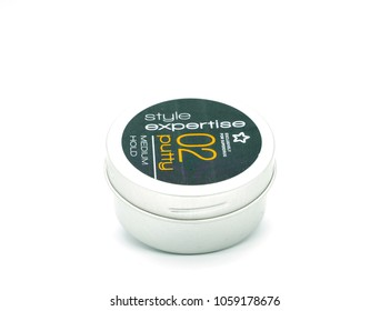Largs, Scotland, UK - March 31, 2018: Superdrug 02 Hair Putty Medium Hold in a reclyclable container. Recent reportage about wastfull packaging in relation to non recyclable plastics.