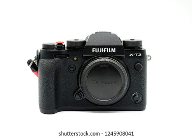 Largs, Scotland, UK - November 22, 2018: Fujifilm X-T20 Camera body being the bigger brother to the X-T20. This camera has the new X-Trans™* CMOS III sensor which is APS-C  .