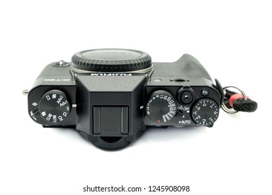 Largs, Scotland, UK - November 22, 2018: Fujifilm X-T20 Camera body being the smaller brother to the X-T2. This camera has the new X-Trans™* CMOS III sensor which is APS-C