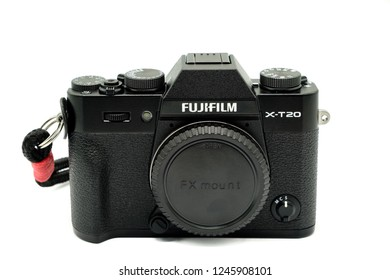 Largs, Scotland, UK - November 22, 2018: Fujifilm X-T20 Camera body being the smaller brother to the X-T2. This camera has the new X-Trans™* CMOS III sensor which is APS-C.