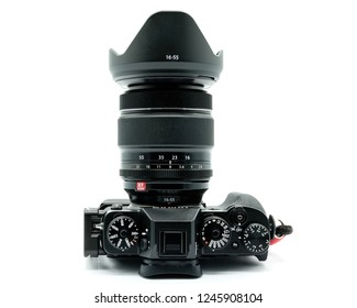 Largs, Scotland, UK - November 22, 2018: Fujifilm X-T20 Camera body and Fuji's 126-55mm lens being the bigger brother to the X-T20. This camera has the new X-Trans™* CMOS III sensor which is APS-C