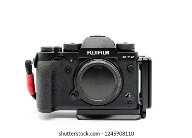 Largs, Scotland, UK - November 22, 2018: Fujifilm X-T20 Camera body being the bigger brother to the X-T20. This camera has the new X-Trans™* CMOS III sensor which is APS-C.
