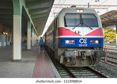 Larissa, Greece - June 11th, 2018: An Hellas Sprinter electric locomotive stopped at platform at the Larissa train Station.