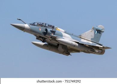 LARISSA, GREECE - MAY 4, 2017: Hellenic Air Force Dassault Mirage 2000 fighter jet plane in flight.