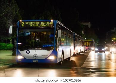Larissa, Greece - May 9th, 2018: Buses of Larissa Urban Ktel, the public transportation service of Larissa, parked on the Kentriki Platia stop.