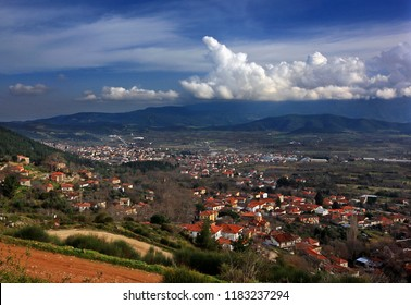 LARISSA, THESSALY, GREECE. Panoramic view of Metaxochori village (front) and Agia town (back).