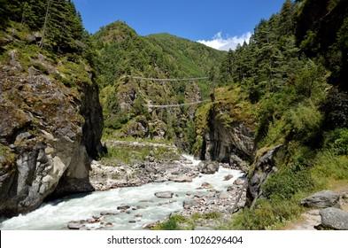 Larja bridge (Hillary), Larja Dobhan, Dudh Koshi and Bhote Koshi, Namche Bazaar, Solukhumbu District, Sagarmatha Zone, Himalayas, Nepal, Asia
