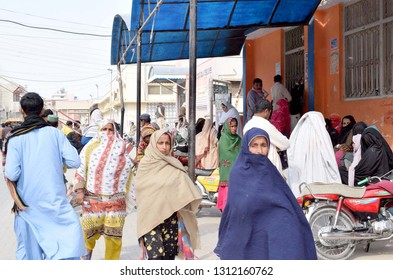 LARKANA, PAKISTAN - FEB 13: Patients are perturbed as the Out Patient Department OPD is closed due to strike of Young Doctors Association, at Chandka Medical College on February 13, 2019 in Larkana. .