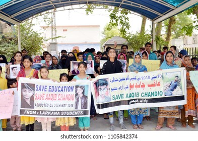 LARKANA, PAKISTAN - JUN 04: Relatives and classmates of young student Aqib Chandio are holding protest demonstration for recovery of him, on June 04, 2018 in Larkana.