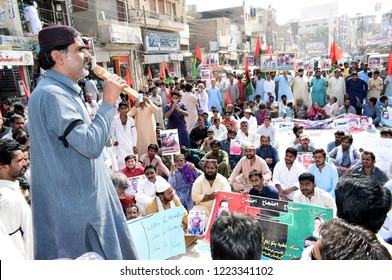 LARKANA, PAKISTAN - NOV 06: Leaders and activists of (PPP-SB) are holding protest demonstration against killing of Asad Umrani and demanding arrest of  his murderer, on November 06, 2018 in Larkana.