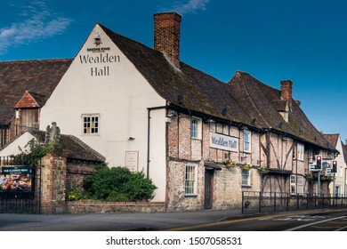 Larkfield, Kent, UK, June 2019 - Wealden Hall, an ancient timber framed building in the village of Larkfield, Aylesford, Kent, UK