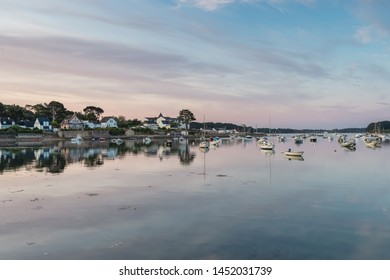 LARMOR BADEN, BRITTANY, FRANCE, JULY 16, 2019 - Greetings from the glittering island-studded Golfe du Morbihan - Larmor Baden, Brittany, France