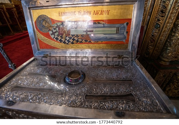 Larnaca, Cyprus -August 11, 2019: The orthodox church of St. Lazarus. The church was erected on Lazarus tomb in the 9th to 10th century