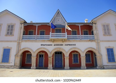 LARNACA, CYPRUS - JANUARY 6, 2018: Larnaca District Administration in Larnaca, Cyprus. First colonial buildings built by the British, restored to accommodate a museum, art gallery & cultural services