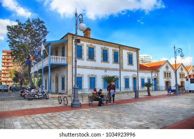 LARNACA, CYPRUS - JANUARY 6, 2018: Larnaca Municipal Art Gallery on Europe Square in Larnaca, Cyprus. First colonial buildings built by British, restored to accommodate museum, art gallery
