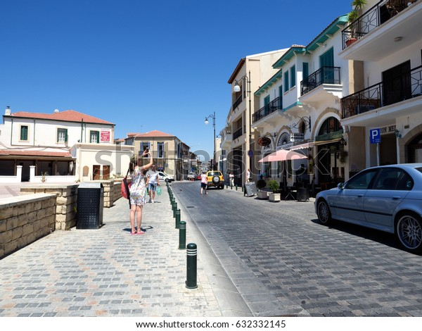 Larnaca, Cyprus - July 12, 2017: An old town street