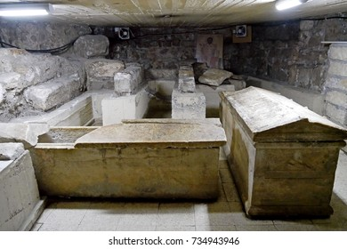 LARNACA, CYPRUS - JULY 27, 2017: Tombs of the Church of Saint Lazarus, Larnaca, Cyprus.