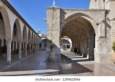 Larnaca, Cyprus - November 2. 2018. Arcade of Church of St. Lazarus. The museum