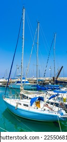 The Larnaca Marina is full of white yachts, always ready for the trips along the coast, Cyprus.