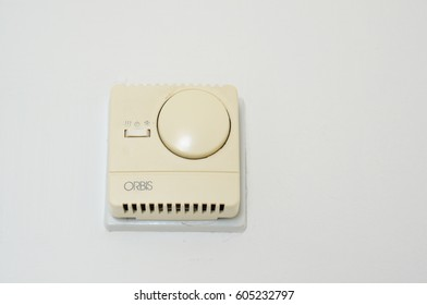 LARNAKA, CYPRUS - MARCH 18, 2017: Airco regulation switch on a wall of a Princess Beach hotel room