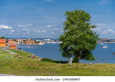 Larvik, Norway - july 30. 2019: Beautiful place called Stavern near to city of Larvik
