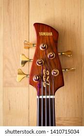 Larvik, Norway - May 26th 2019: Yamaha trb five strings fretless bass guitar