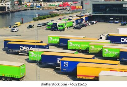 Larvik, Norway. Trucks waiting to enter the ferry in Larvik. Taken on 2016/06/17