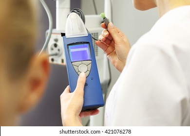 Laryngologist. Hearing test. A patient with throat specialist. Hearing test.