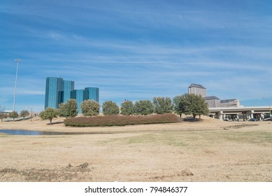Las Colinas skyline view from John Carpenter Freeway. It is  an upscale, developed area in the Dallas suburb of Irving, Texas, USA.