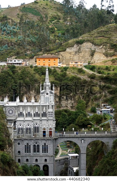 Las Lajas Sanctuary in a gorge in Ipiales, Colombia, seen from above