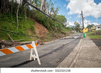 Las Marias, Puerto Rico / United States -  October 23 2017: Scenes of the destruction to the power grid by Hurricane Maria in Puerto Rico.