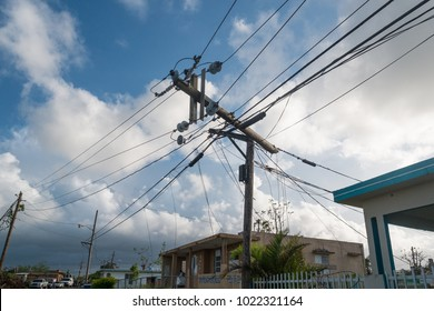 Las Marias, Puerto Rico / United States -  October 23 2017: Scenes of the destruction to the power grid by Hurrican Maria in Puerto Rico.