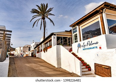 Las Negras, Almeria, Spain. Circa February 2019. View of restaurant La Palma, one of many that cater to tourists in the beach town of Las Negras, in the Cabo de Gata natural park of Almeria, Spain.