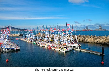 Las Palmas, Canary Islands / Spain - October 22 2019: racing sailing boats of the Classe Mini (English: Mini class) participating in the MiniTransat 2019 trans Atlantic race from La Rochelle,France to