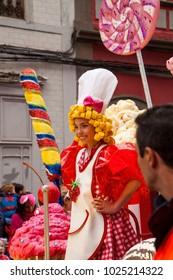 LAS PALMAS DE GRAN CANARIA, SPAIN - FEBRUARY 13: Spectators and participants enjoy Children Carnival Parade along city streets, Children Carnival Dame, February 13, 2018 in Las Palmas de Gran Canaria,